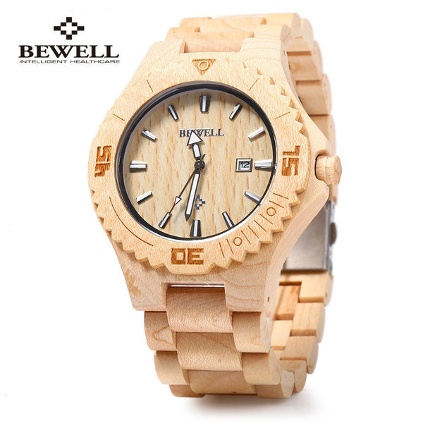 New Top Trendy Bewell Wooden Quartz Calendar Luminous Pointers Waterproof Dress Watches for Men