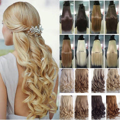 New Best Seller Long 17-29 inch Synthetic High Temperature Fiber Curly Clip In Hair Extension Multicolor 150g Hot Sale