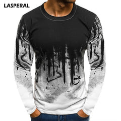 LASPERAL Long Sleeve Male Hiphop Streetwear Fitness Tshirts Men Printed Fashion Male T-shirts Bottoms 3XL Plus Size Tee Top