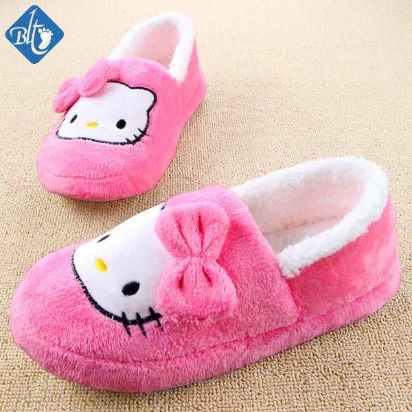 2017 New Arrival Winter Cartoon Animal Pantuflas Hello Kitty Indoor Pantufas Household Home Womens Shoes Plush Slipper Pantofole Donna
