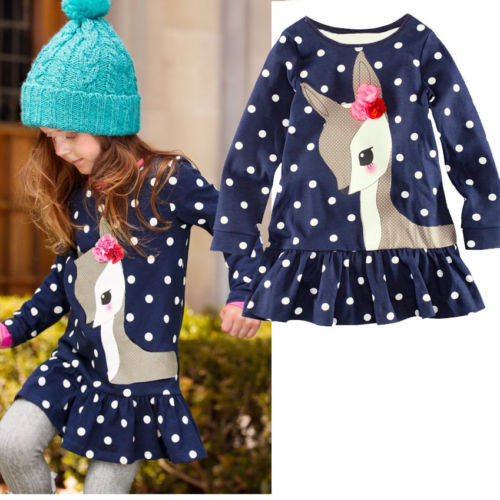 New 2016 Fashion 18m-6y Baby Girls Dress Cute Deer Long Sleeve Cotton Polka Dots Top Children For Girl Clothes