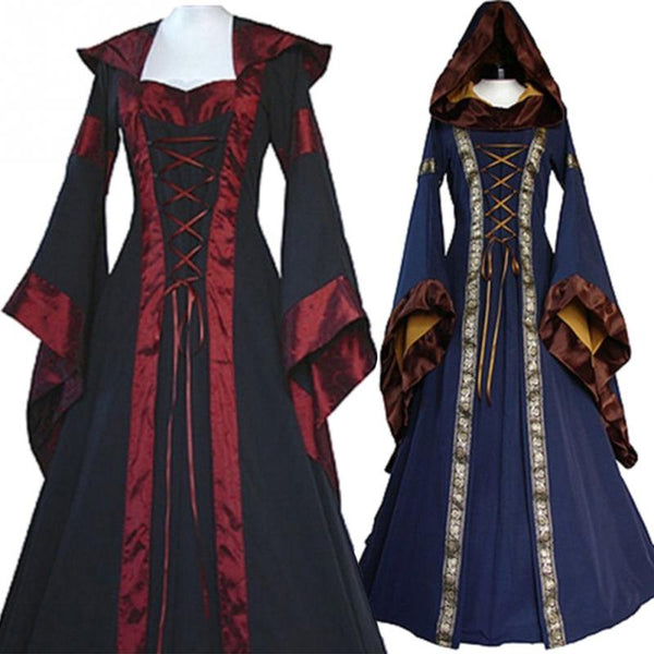 For Women Witch vintage Maxi Dress Prom Halloween Costume Cosplay clothing