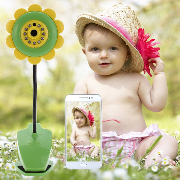 Fimei Sunflower Wireless Wifi Baby Monitor Night Vision Infant Baby Monitor Digital Video Camera Two Way Audio Nanny Monitor