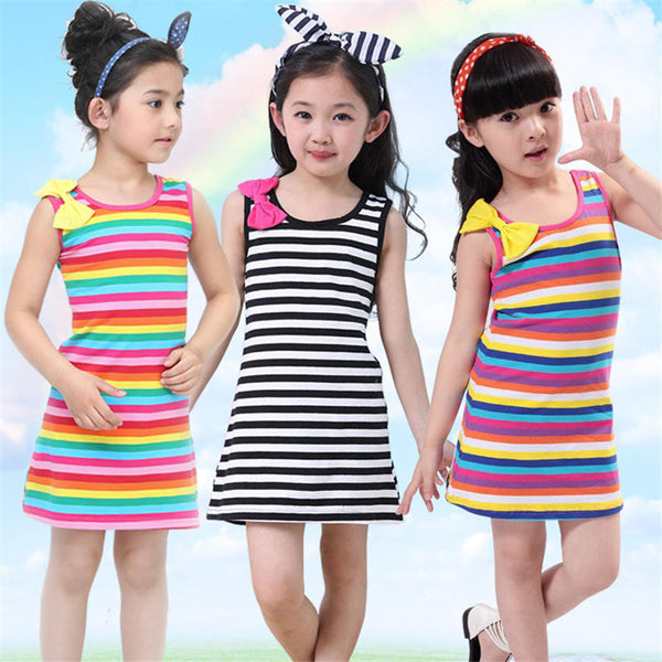 2016 Hot Sale Girls Stripe Seeveless Rainbow Cotton Summer Girl Dress Bow Tutu Dresses For Girls 3 4 5 7 8 10 11 12 15 Years
