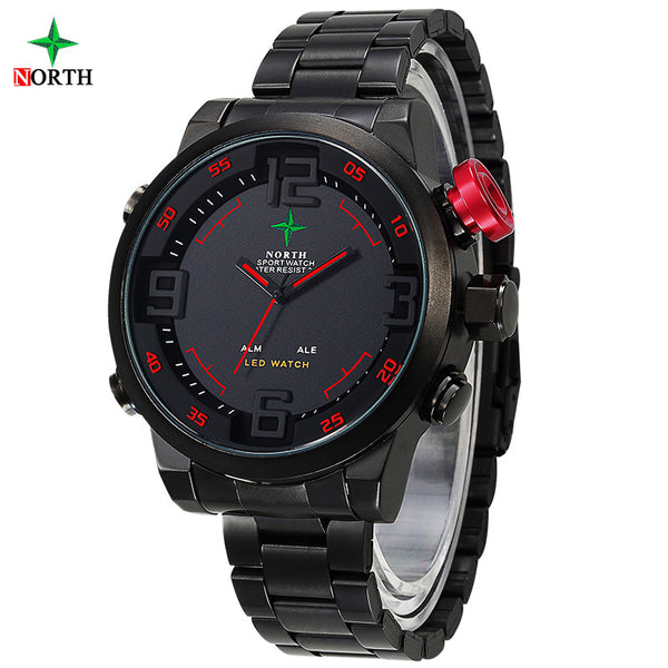 2017 New Fashion LED Digital Sport Casual Waterproof Stainless Steel Analog Round Wristwatch Quartz Men