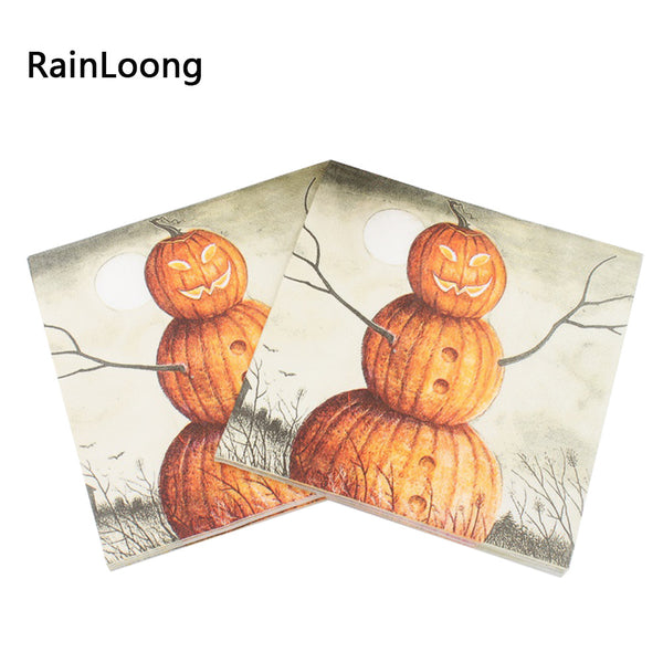 New Pumpkin Paper Napkins Halloween 2016 Festive & Party Supplies Tissue Napkins Decoration Servilleta 33cm*33cm 20pcs/pack