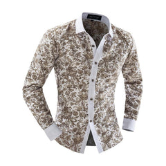 2016 high quality  men's clothing Plus size XXL luxury brand shirt men  long-sleeve slim shirt casual floral men shirts