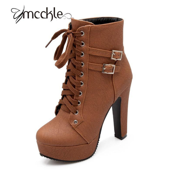 2017 New Hot Sale MCCKLE Autumn Winter Ankle Boots High Heels Lace Up Leather Double Buckle Short Booties for Women