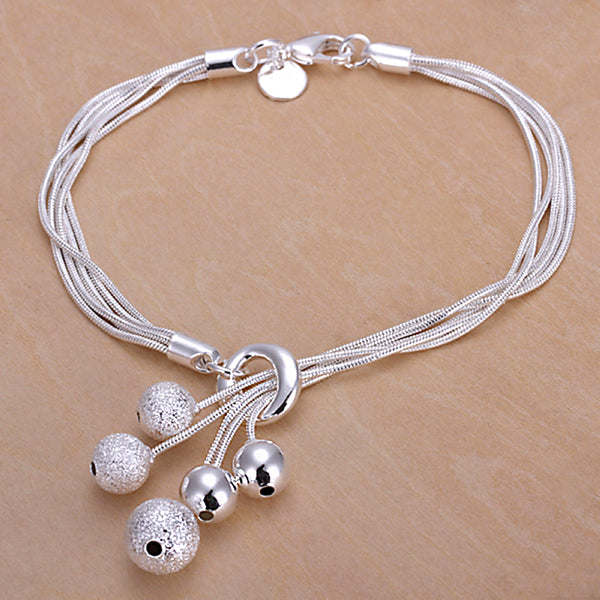 Top Quality Silver Plated Bracelets & Bangles Fashion Small Beads Pendant Bracelets for Women 2016 Best Fine Jewelry