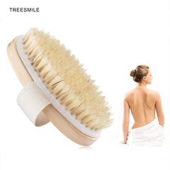 TREESMILE Body Bath Brush Wooden Body Massage Brush  Wooden Bath Shower Bristle Brush SPA Body Brush Without Handle D40