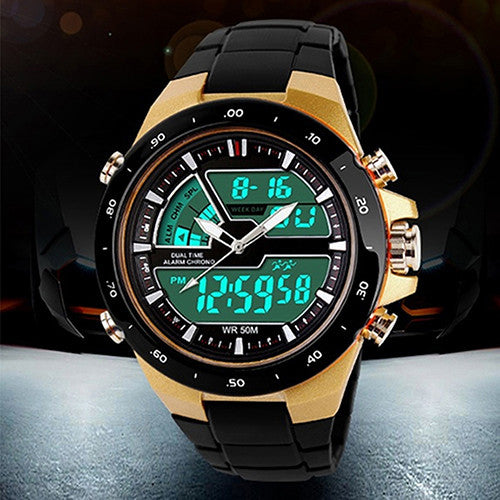 New Arrival Stainless Steel Waterproof Chronograph Sport Digital Analog Dual Time Alarm Date Watch for Men