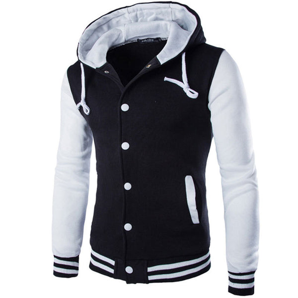 New Veste Homme Hooded Baseball Fashion Design Black Slim Fit Varsity Jacket Brand Stylish College Jacekt for Men