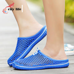 Plus Size 36-45 Man Woman Hole Garden Clogs 2016 New Male Summer Shoes Net Flats Beach Sandals Mules Slippers