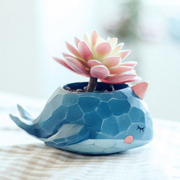 Natural Resin Cute Animal Design Plant Landscape Flower Pot Planter Garden Exquisite Decor 2