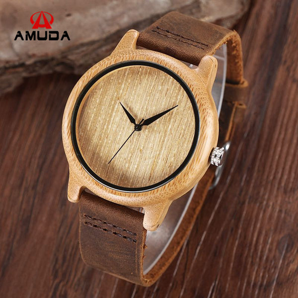 New Japan Movement Bamboo Wristwatches Simple Dial Genuine Leather Wood Watch with Box Unisex Christmas Gifts
