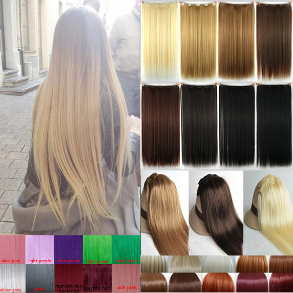 New 100% Natural Straight Hair Clip in on Hair Extensions 26 inch 66cm Length Long Blonde Hair Black Dark Light Brown Hairpiece