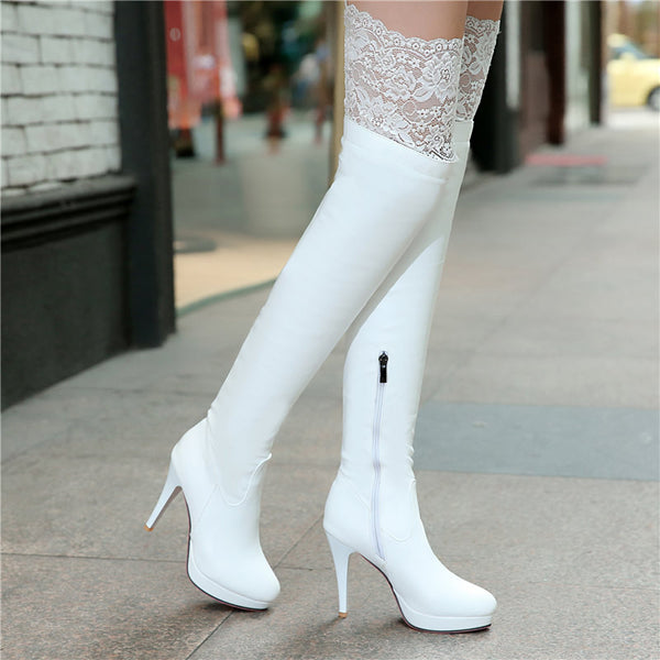 Sexy Red Bottom Thigh High Platform Thin Women Heels Over the Knee Boots - Plus Size White Black