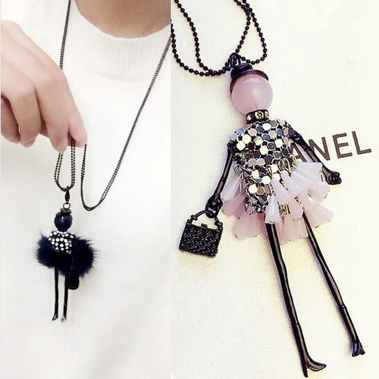 2015 News Handmade Dress Crystal Piece Sequins Girl Doll Pendants Long Necklace Sweater Chain collier Women Accessories N43