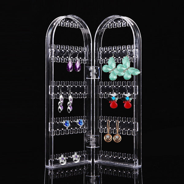 Transparent Jewelry Storage Rack Plastic Clear Holder Cosmetic Organizer Storage Makeup Case Cabinet Box Jewelry Display