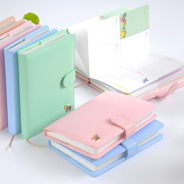 New  Cute Planners Fresh Macaron 124 Sheets Pony Weekly Planner Leather Notebook Agenda Organizer Office School Supplies Gift