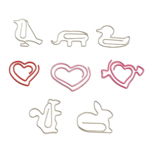 1Set Funny Colorful Animals Metal Hollow Out Clip Paper Clips Clamp Red Silver Memo Clip Office Binding Stationery Supplies