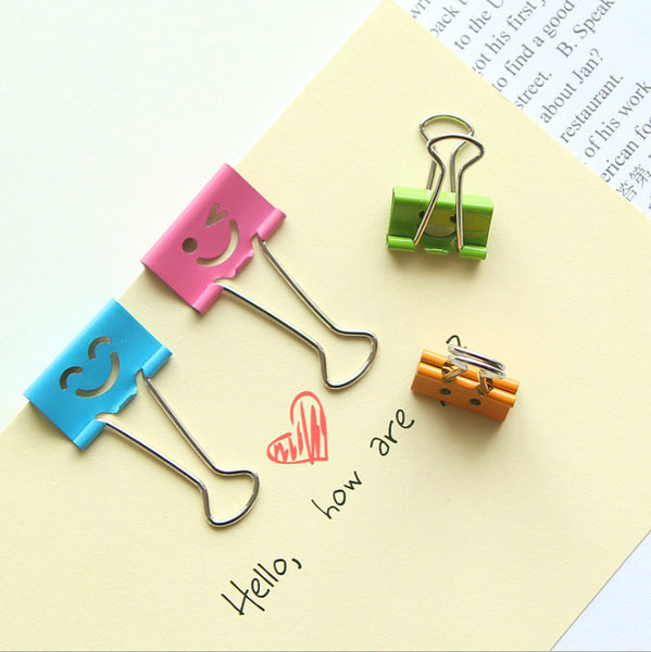 48pcs/lot binding clip Duomeisi of Deli stationery cartoon smile smile bill clip tail clip folder office supply binding clip