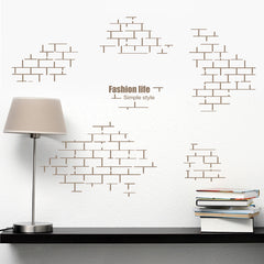 Wall Sticker Brick Retro Geometry Square Wall Art Mural Decals For Living Room Office Vintage Stickers Wall Handmade Home Decor