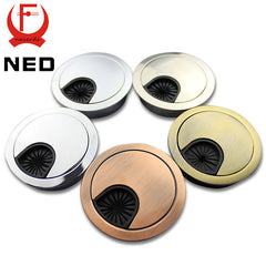 4PCS NED Zinc Alloy 60mm Computer Desk Grommet Table Cable Tidy Outlet Port Surface Wire Hole Cover Line Box Furniture Hardware