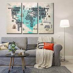 3 Pcs/set Simple World Maps Canvas Painting Abstract Blue Heart Letter World Maps Printed on Canvas For Office Room Pictures