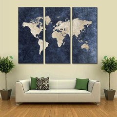 New 3 Pcs/Set Abstract Navy Blue World Map Canvas Painting Modern Wall Pictures For Office Room Decor