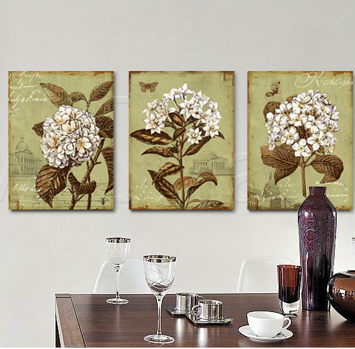 Green vintage white flower oil painting living room bedroom home decorative wall art office free shipping