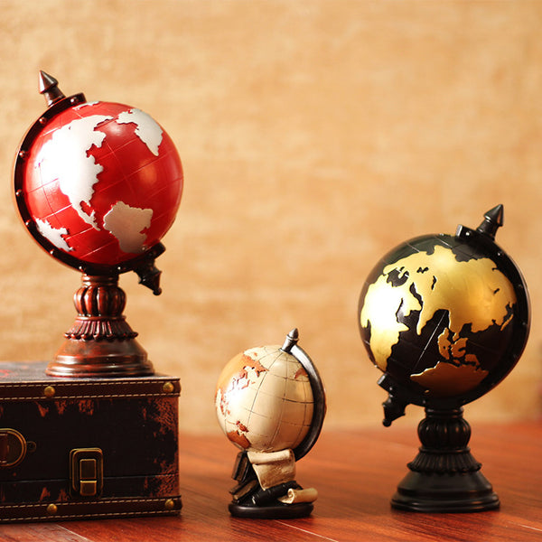 European style retro earth globe resin craft decoration living room study office desktop decoration vintage home decor