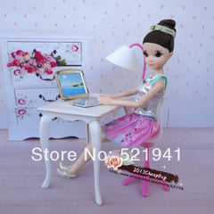 Free Shipping,doll furniture desk+lamp+laptop+chair  accessories for Barbie Doll