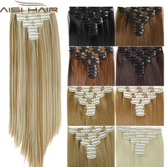 New Best Seller Clip in Hair Extensions 25inch Long Straight Fake False Heat Resistant Synthetic Natural Hair Extension Free Shipping