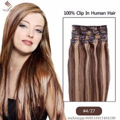 New Arrival Brazilian Clip In ins Brown Blonde Full Head Real Clip in Human Hair Extensions 220g 10pcs Free Shipping