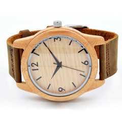 2017 Hot Sale Wooden Quartz Movement Wristwatches Genuine Leather Bamboo Bracelet Creative Watch for Men and Women