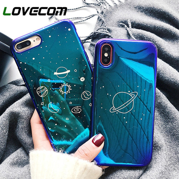 LOVECOM Universe Planet Case For iPhone XS XR XS Max X 8 7 6 6S Plus Retro Blu-Ray Fashion Cartoon Phone Back Cover Cases Gift