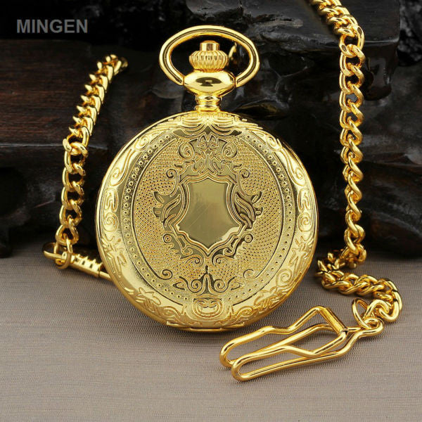 2017 New MINGEN Retro Dress Gold Silver Shield Round Case Men's Quartz Pocket Watch + Chain