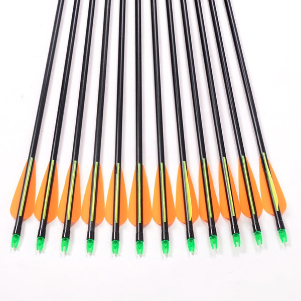 12pc Fiberglass Arrow 80cm Length of 30-80lbs For Compound Recurve Bow Archery Shooting and Hunting