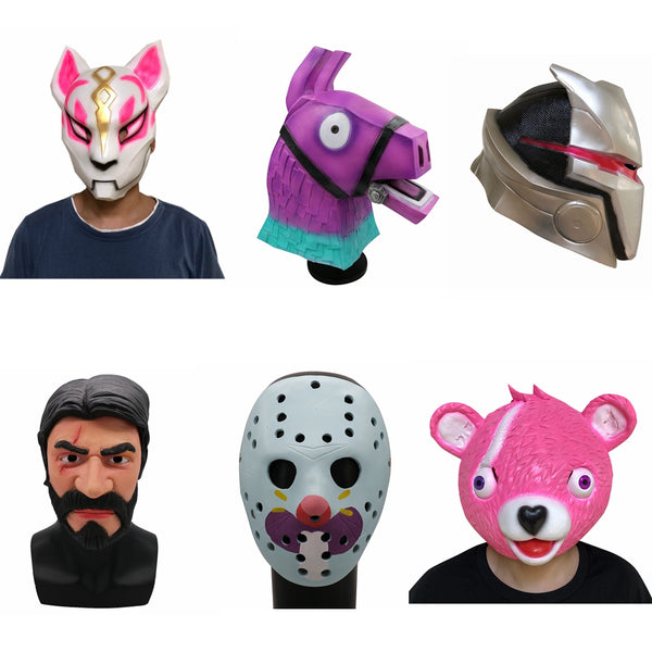 2018 Fox Drift Latex Llama Full Face Mask Cuddle Team Leader Game Mask Cosplay Funny Animal Pink Bear Halloween Party Props