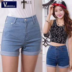 Latest Design Summer High Waist Stretch Denim Shorts Slim Korean Casual Jeans Shorts for Women
