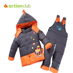 Winter Children Cothing Cute Fish Sets Jacket Parkas Set And Overalls Pants Kids War Clothing Christmas Gift Free Shipping KS420