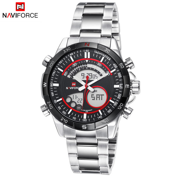 2017 New Arrival Brand NAVIFORCE Japan Dual Movt Full Steel Quartz Digital Watch Men LED Sport Watches