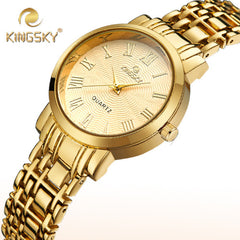 New Hot Sale Gold Silver Women Luxury Brand Steel Band Wristwatches with Roman Numerals Dial Reloj Mujer Clock
