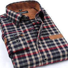 Brand Clothing 2016 New Men Thickening Imitation Wool Plaid Shirt Lapel Leisure Long-sleeved Shirt Camisa Masculina
