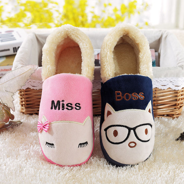 New Winter SexeMara Brand Womens Home Indoor Kawaii Funny Slippers Lovers Pantufa Couple Unisex Animal Slippers