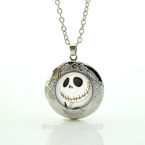 Halloween 2016 Jewelry Nightmare Before Christmas Silver Necklace, Glass Pendant Glass Pendant N753