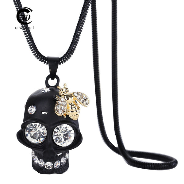 New Skull Crystal Jewelry Party Long Statement Pendants Necklaces Punk Hip Choker Wedding Dress Accessories