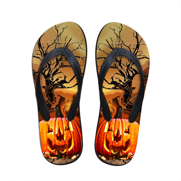 New Sapato Feminino 3D Halloween Pumpkin Printing Home Slippers Outdoor Designer Shoes Beach Flip Flops Male Flat Sandals