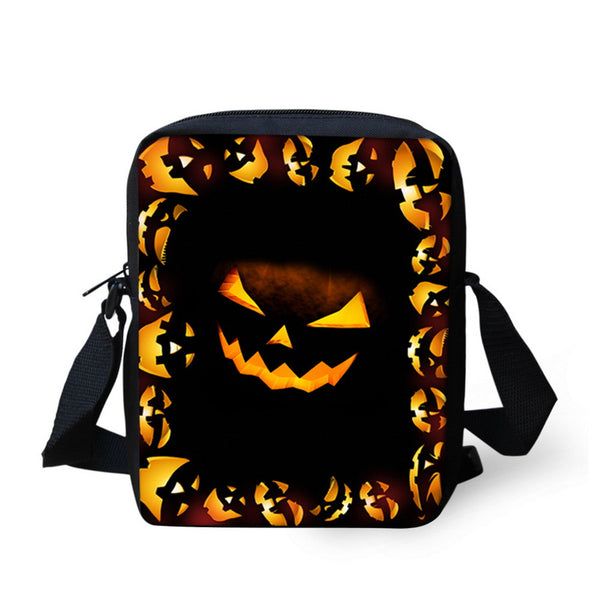 New Novelty Men's Messenger Bags Halloween 2016 Pumpkin Printing Travel Bags for Children Kids Boys Crossbody Bags Casual Bag for Women